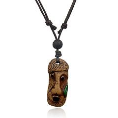 Ethnic Retro Leather Woven  Bead Effendi Head Portrait Ceramics Pendant Adjustable Necklace