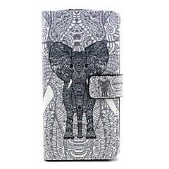 motif de l'éléphant étui en cuir PU avec bouton pression magnétique et lecteur de carte pour wiko arc-en-ciel-