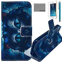 coco FUN® motif de chat magique étui en cuir PU avec protecteur d'écran et un câble USB et un stylet pour iPhone 5 / 5s