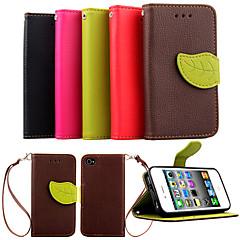 ylellisyyttä pu nahka iho läppä seistä kansi iPhone 4 4s puhelimen kuori lehtiä pussi lompakko käsilaukussa + kaulanauha + korttipaikka