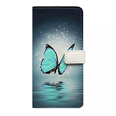 Voor iPhone 5 hoesje Portemonnee / Kaarthouder / met standaard / Flip / Patroon hoesje Volledige behuizing hoesje Vlinder Hard PU-leer