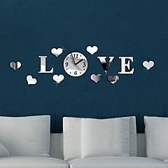 Hearts Love DIY Luxury Wall Art Acrylic Clock Mirror Stickers for Home Decoration (Silver)