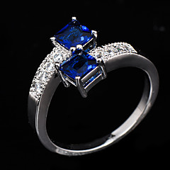 High Quality Fashion Women's White  Gold 10 KT Dark Blue  Zircon Ring