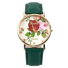 couleur rose femmes PU bande de montre-bracelet en cuir (vert) (1pcs)