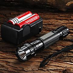 WF-501B U2 Cree XM-L U2 1200 Lumens LED Flashlight + 2 x 18650 3000mAh Battery + Charger