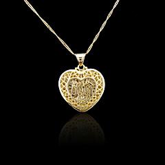 18K Real Gold Plated Allah Muslim Islamic Heart Pendant 2.7*3.7CM