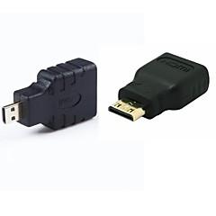 HDMI θηλυκό σε mini HDMI αρσενικό& HDMI για πολύ μικρές HDMI σύνολο Μετατροπέας αρσενικού προσαρμογέα / 2τεμ (1xmini HDMI + 1xmicro
