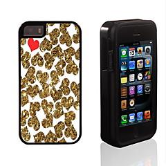 or et rouge conception de coeur 2 en 1 armure hybride complet du corps à double couche choc protecteur mince affaire pour iPhone 5 / 5s