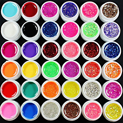 36PCS Mix Powder Pure Color Glitter Paillette Sequins UV Color Gel