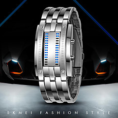 Heren Polshorloge Digitaal LED / Waterbestendig Roestvrij staal Band Zwart / Zilver Merk-