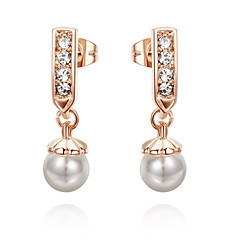 HKTC 18k Rose Gold Plated Jewelry with Austrian Crystal Simulated Pearl Drop Brincos Earrings