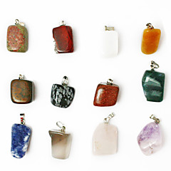 חרוזים תליון קסם 24pcs beadia מעורב צבע אבן חן הטבעי עלו מגוון רחב של שרשרות תליון כושר אבן צורה לא סדירה