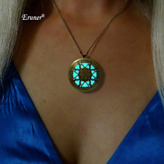 Eruner® Glow Necklace Round Flower Hollow Pendant Antique Bronze Charms Glowing In The Dark Jewelry