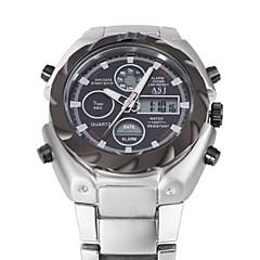 Masculino Relógio de Pulso Quartz LCD / Calendário / Cronógrafo / Impermeável / Dois Fusos Horários / alarme Aço Inoxidável Banda Prata