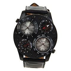 Heren Militair horloge Kwarts Compass / Thermometers / Dubbele tijdzones Leer Band Zwart Merk- Oulm