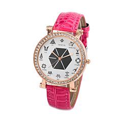 Masculino Mulheres Unissex Relógio de Moda Quartzo Couro Banda Desenhos Animados Brilhante Preta Branco Vermelho Roxa RoseBranco Preto