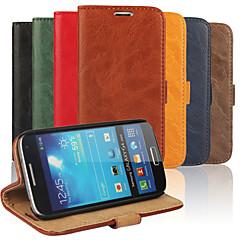 coaja de cereale din piele naturală capac corp plin cu suport și caz pentru Samsung Galaxy S4 mini i9190 (culori asortate)