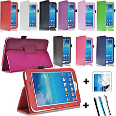 PU Leather Bracket Case + Screen Protector +Stylus For Samsung Galaxy Tab 3 lite T110/T111 (Assorted Color)