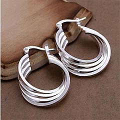 Sterling Silver Earring Hoop Earrings Wedding/Party/Daily 2pcs