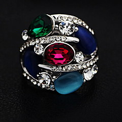 Personality Colourful Zircon Crystal Set Drill Ring