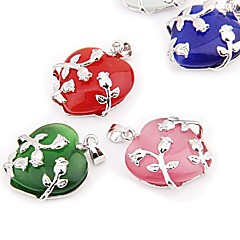 5PCS Heart Rose Flower Cat's Eye Pendants Beads 1x0.83""