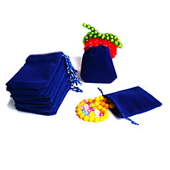 Beadia 50Pcs  7x9cm Royal Blue Velvet Pouch Wedding Gift Bag Drawstring Jewelry Packaging