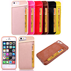 karzea ™ volta cartão de cobertura padrão de slot de TPU e PU de volta caso capa para o iPhone 5 / 5s (cores sortidas)