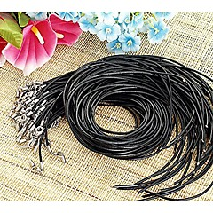 50PCS Black Leather Beading Necklace Cord String Strap