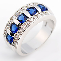 Size 6/7/8/9 High Quality Women Blue Sapphire Rings 10KT White Gold Filled Ring
