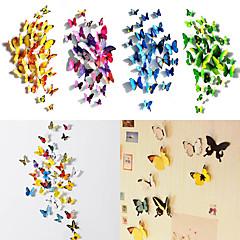 50 pc 3d farfalla decalcomanie adesivi magnete di arte della parete con il bastone bolla (12 pz ordinaria + 38 pc non magnetiche)
