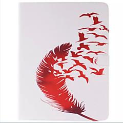 아이 패드 2 아이 패드 3 아이 패드를위한 카드 홀더 빨간 새와 붉은 깃털 사진 PU 가죽 전신 TPU 케이스 (4)