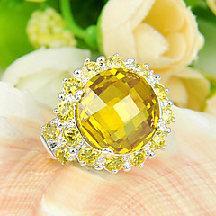 Holiday Gift Classic Full Fire Citrine Gem 925 Silver Statement Rings For Wedding Party Daily Casual 1pc