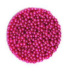Beadia 58g(Approx 2000Pcs)  4mm Round ABS Pearl Beads Fuchsia Color Plastic Beads