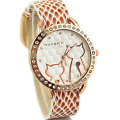 望太阳 2015/7/4 21:32:55Women's Diamante Round Dial PU Band Quartz Analog Dress Watch