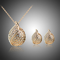 MISSING U Alloy / Rhinestone / Silver Plated / Rose Gold Plated Jewelry Set Necklace/Earrings Party / Daily 1set