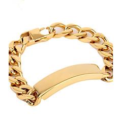 Toonykelly®Length 21CM Width 1.3CM Gold Fashionable Men Link Bracelet(1pc)