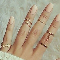 Ring Fashion Party Jewelry Alloy Women Midi Rings 1set,One Size Silver