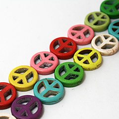 Beadia 2Str x 38Cm(Approx 52PCS) Turquoise Stone Beads 15mm Peace Sign Shape Mixed Color Gemstone DIY Loose Beads
