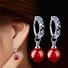 Agate/Silver Plated Earring Drop Earrings Party/Daily 2pcs