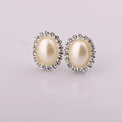 Fashion New Style Ellipse Pearl/Rhinestone Earring Clip Earrings Wedding/Party/Daily/Casual 2pcs