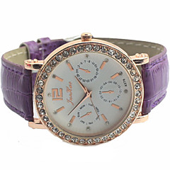 Women's Diamante Round Dial PU Band Quartz Analog Casual Watch Cool Watches Unique Watches