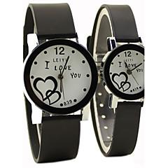 השעון של בני זוג בסגנון סיבתי חיוג סיבוב פרק כף היד קוורץ גומי שחור הלהקה