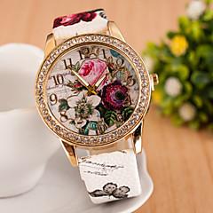 Bayanların Moda Saat Quartz PU Bant Çiçekli Beyaz / Mavi / Pembe / Gül Marka-