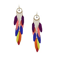 Fashion Women Multi Colour Feather Drop Earringss