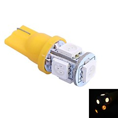T10 1W 100LM 5x5050 Yellow/Red/Blue/Cool/Warm Light for CarDashboard/Door/Trunk LampsDC12V