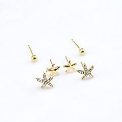 Kolczyki na sztyft Kryształ Modny Europejski Kryształ górski Pozłacane 18K złoty sztuczna Diament Austria Crystal Gold Biżuteria Na 2pcs