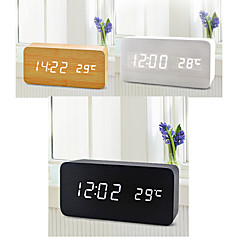 White Light USB Dual-Screen Rectangular Wooden LED Clock w/ Alarm Clock / Temperature / Voice Sensor
