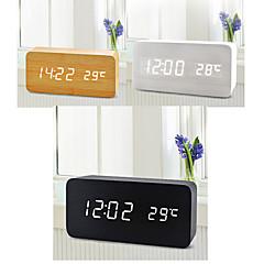 double écran blanc lumière usb en bois rectangulaire horloge conduit w / réveil / capteur de température / voix