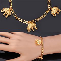 U7® Figaro Chains Elephants Charms Bracelets 18K Real Gold Plated Fashion Jewelry Bangle For Women Men