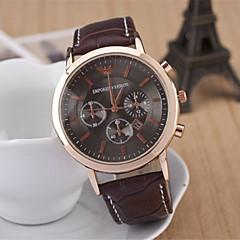 Men's Fashion Diamond Three Eyes Quartz Analog Leather Bracelet Watch(Assorted Colors)